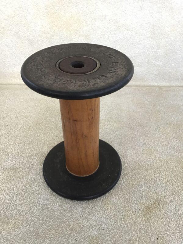 "Vintage Antique 4.25 "" Tall Wood and Metal Thread Spools Spool BOBBIN DECOR"