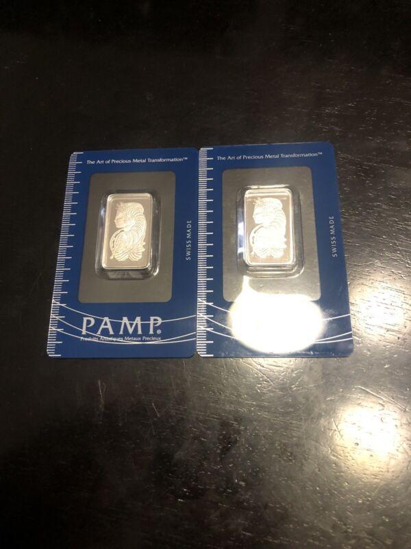Lot Of 2 - 1/2 Platinum Pamp Assay Bars. 1 Oz Total