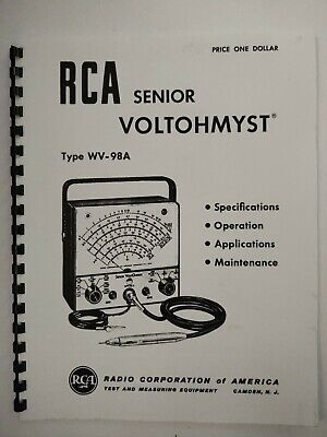1955 Rca Senior Voltohmyst Type Wv-98a Vtvm Electronic Meter Operating Manual
