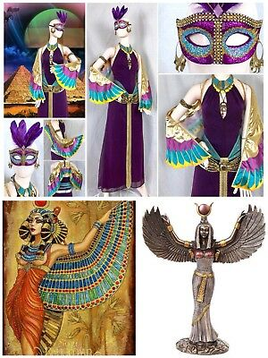 8 PC Egyptian Winged Goddess COSTUME Set Isis Pharaoh Phoenix Headdress Wings - Goddess Phoenix