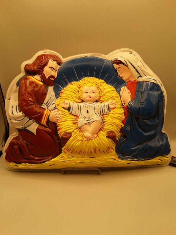 LA Goodman Nativity Manger 3D Illuminated Plastic Christmas Lighted Wall Hanging