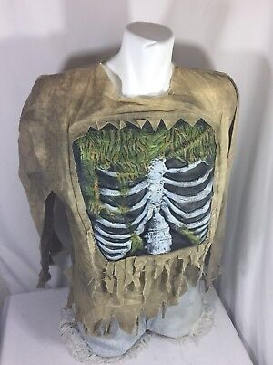 Boys Halloween Costume Size L Light Tan Color Skeleton Chest only Bin82#1