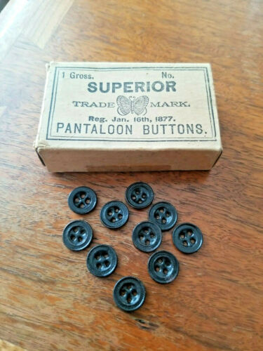 10 Vintage 1877 Mens Pantaloon Metal Workwear Buttons Denim Work Pants Miner old