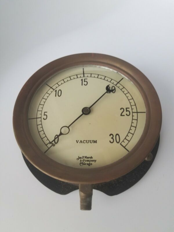 "Vintage Jas. P Marsh & Company Chicago 7"" Vacuum Gauge 0-30, Brass Steampunk"