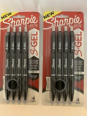 2 - Sharpie S-gel Pen Black Fine 0.7mm Point Retractable 4 Pens 2 Packs