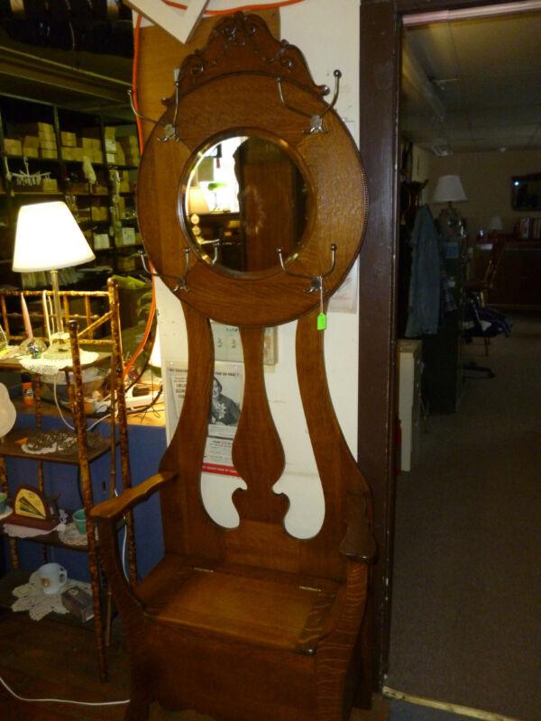 antique OAK hall tree seat rack bench tree  beveled mirror REFINISHED 1900