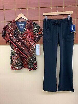 NEW Black Print Scrub Set With Grey's Anatomy Small Top & Small Petite Pants NWT Black Print Scrub Top
