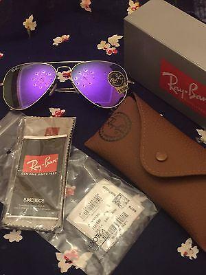 Women's RAY BAN Sunglasses Aviator Authentic RB 3025 Metal Gold/ Purple Mirrored