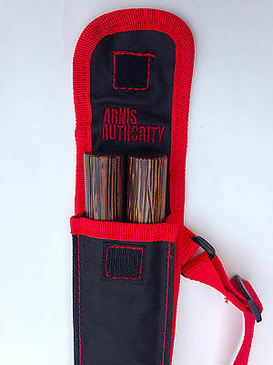 Bahi Arnis Escrima Kali Pair of Sticks and FREE Red Carrying Case with strap