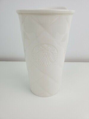 Starbucks 2012 Travel Mug White Quilted Tumbler Cup Mermaid Siren With Lid 10 oz