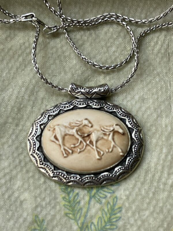Carolyn Pollack Andrew Rodriguez Sterling Silver Cameo Pendant Running Horses
