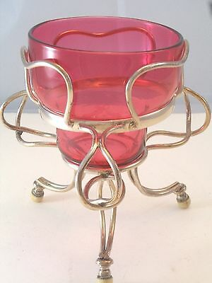 UNUSUAL ENGLISH SILVERPLATE STAND ORIGINAL CRANBERRY GLASS BOWL BAKELITE FEET