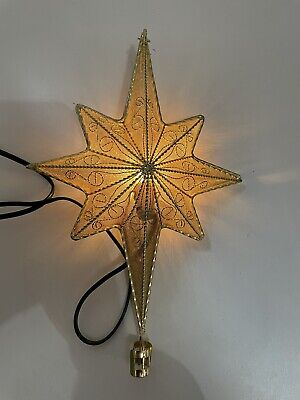 """Beautiful 11"""" gold metal light up star Christmas tree topper Holiday Decoration"""
