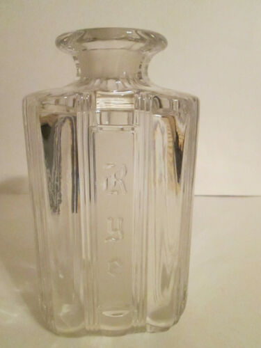 Vintage Rye Decanter Clear Glass Embossed Lettering NO Stopper Circa 1960
