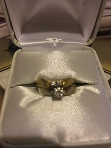 14k yellow and white gold engagement ring and wedding band