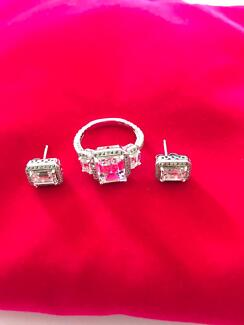 QUALITY 925 STERLING SILVER JEWELLERY DIAMONESQUE RINGS  SIZE Q