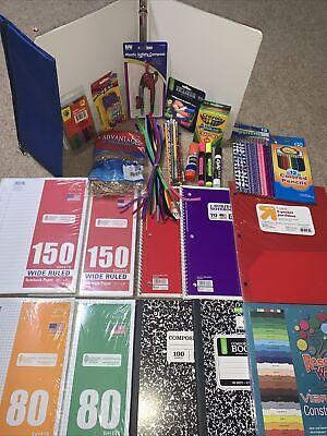 School Supplies Bundle 25+ Back 2 School Kid Essentials Binders Crayons Paper ++