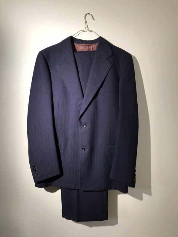 VTG 1950s Men's Navy Pinstripe Wool Suit 40 Chest 32 Waist