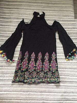 Kiss The Sky Tassell Embroidered Halterneck Dress From Asos Size M Cut Out Black