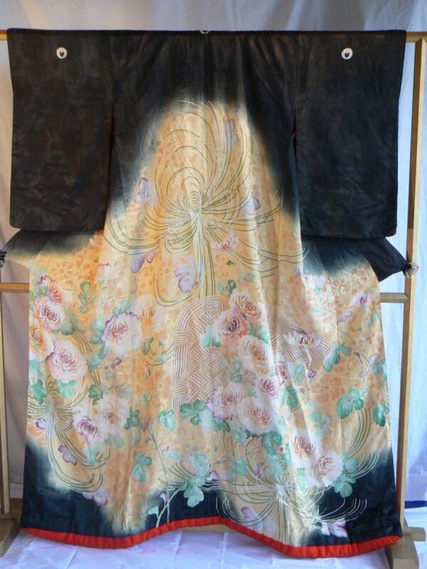 JK 114 Antique Japanese Silk Wedding Kimono Uchikake Taisho Period 1910 - 1920