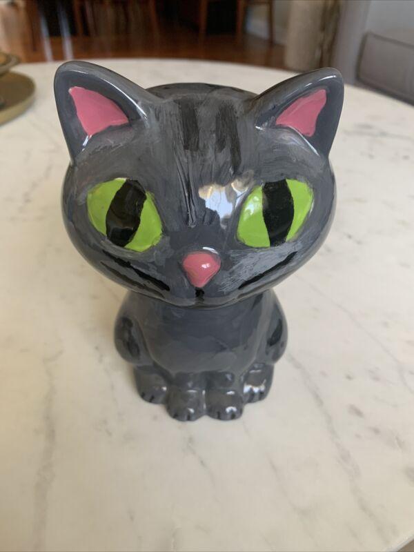 Gray Cat Porcelain Bank