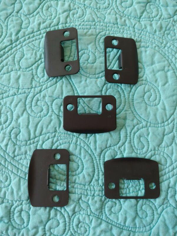 """(5) NEW SCHLAGE STRIKE PLATES 1-5/8"""" x 2-1/4"""" ROUND CORNER 622 MATTE BLACK"""