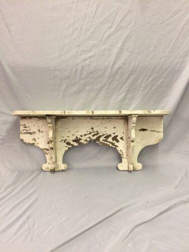 "Antique Wood Corbel Wall Shelf Scalloped White 27"" Old Shabby Vtg Chic 242-18C"