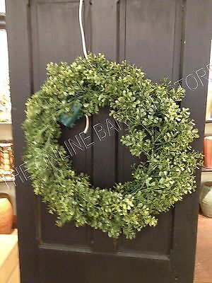 Frontgate Grandinroad Cordless Boxwood Christmas Door Hanging Wreath Prelit 30""