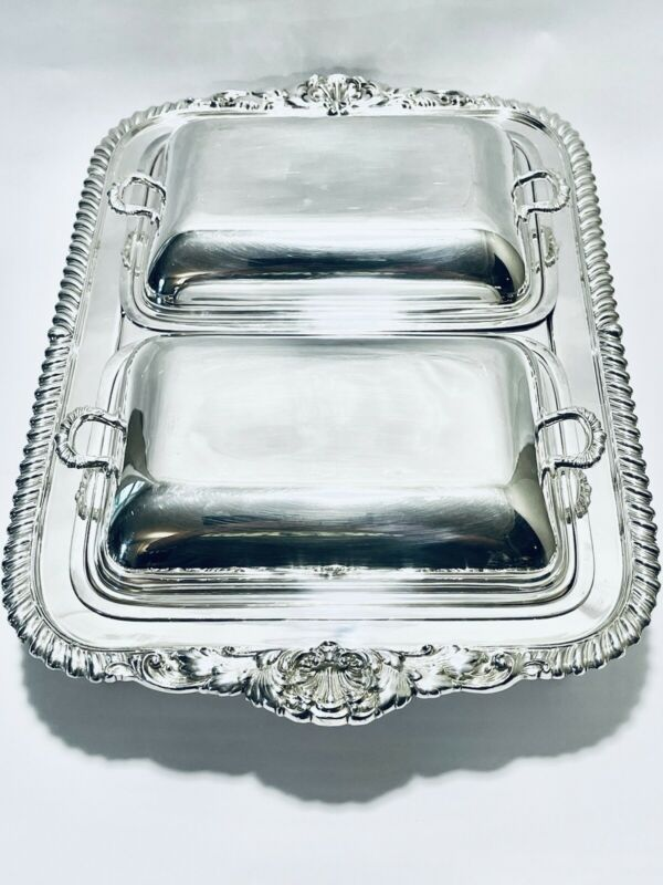 Stunning Footed Double Dish Reed & Barton Silver Plate & Veggie Dish