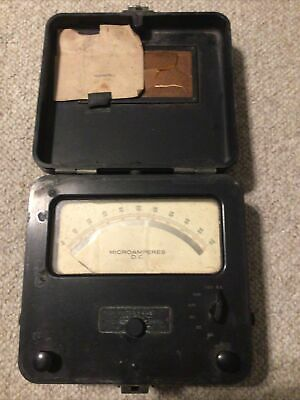 Vintage Weston Electric Original Microamperes Dc In Case Rare Electrical Amp