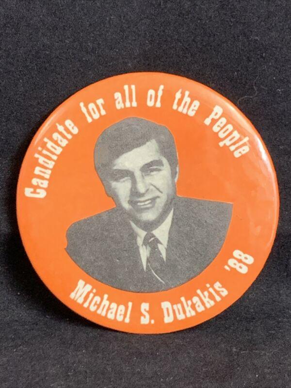 Michael Dukakis For President 1988 Vintage Political Pin-Back Button KG