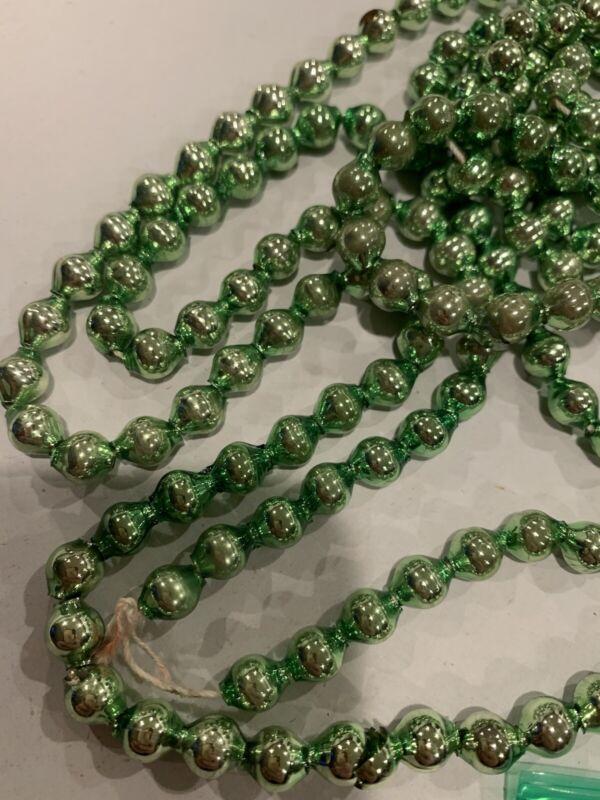 """Vintage Christmas Glass Green Bead  Garland 87"""" #NN"""