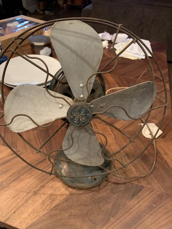 Vintage Antique General Electric GE Brass Blade Fan       USED works 1920s?