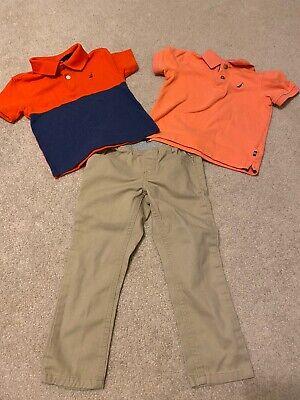 Nautica Little Boys' Toddler Lot 2T Navy Orange Polos and Khaki Pants