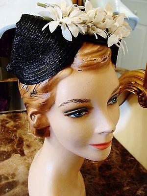 Vintage 1930s/40s Black Tilt Top Hat