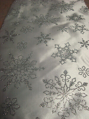 Lt Silver Snowflake And Silver Glitter Tree Skirt...Glitter...Approx 48 ins..