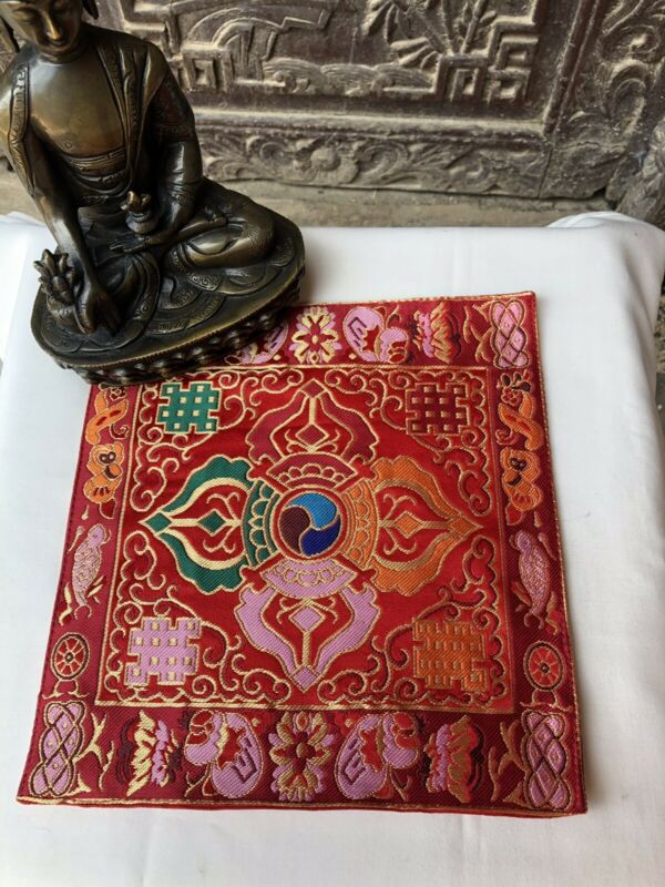 Tibetan double Red dorje silk brocade table cover/altar cloth/shrine placemat