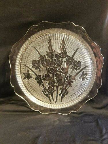 "FINE DEPRESSION GLASS IRIS AND HERRINGBONE CLEAR 12"" SANDWICH CAKE PLATE N MINT"