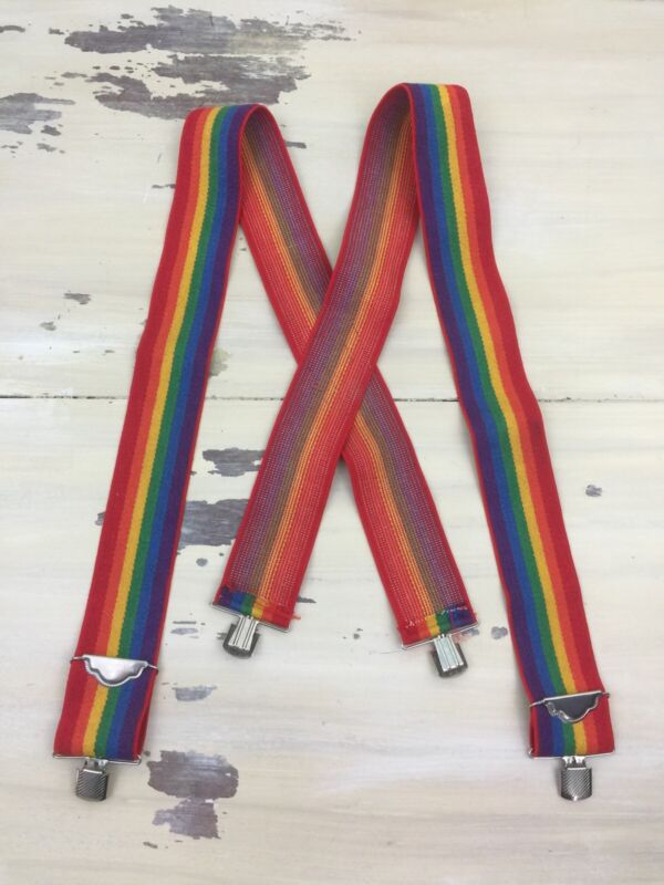 RAINBOW SUSPENDERS - Vtg 70s-80s Clown Mork & Mendy Elastic w Metal Clips