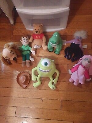 Disney Plush Lot Mike, Pooh, Peter Pan, Ursula, Maid Marion, Dinosaur, Lady