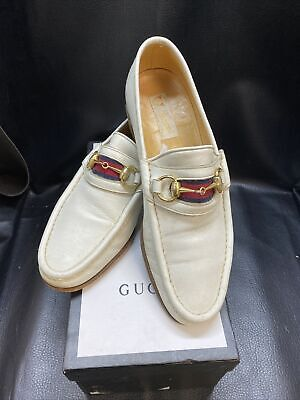 Vintage White Gucci Leather Horsebit Loafers Size 42
