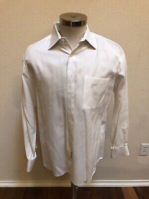 Ike Behar Mens White Pin-striped Dress Shirt Sz 16, 34 Pre-owned
