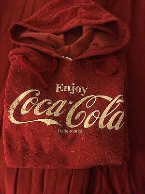 AUTHENTIC Enjoy Coca-Cola Red Hooded Fleece Sweatshirt Size Large Coke Hoodie