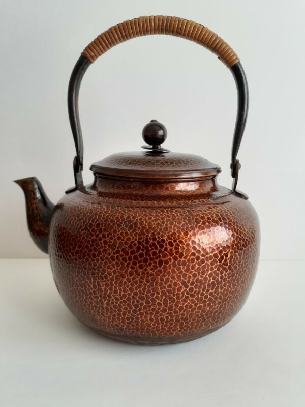Antique Japanese Copper Covered Teapot, Hand Hammered, Signed Early 20th C.