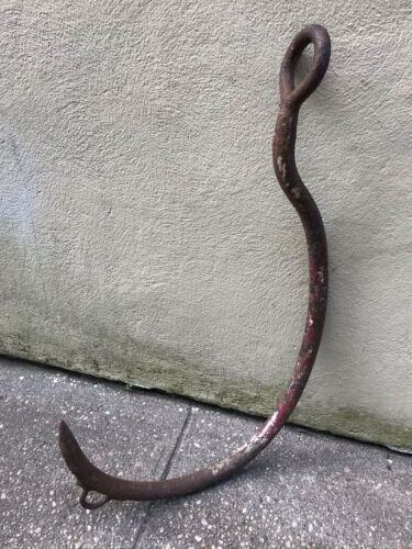 "HUGE Antique 19th Century WHALE Whalers  IRON HOOK Great Decor 32"" Tall Rare"