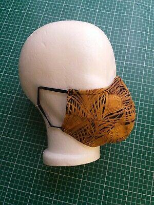 Maske | Baumwolle schwarz Gold | Mundschutz | Pfauenfedern | Designer |