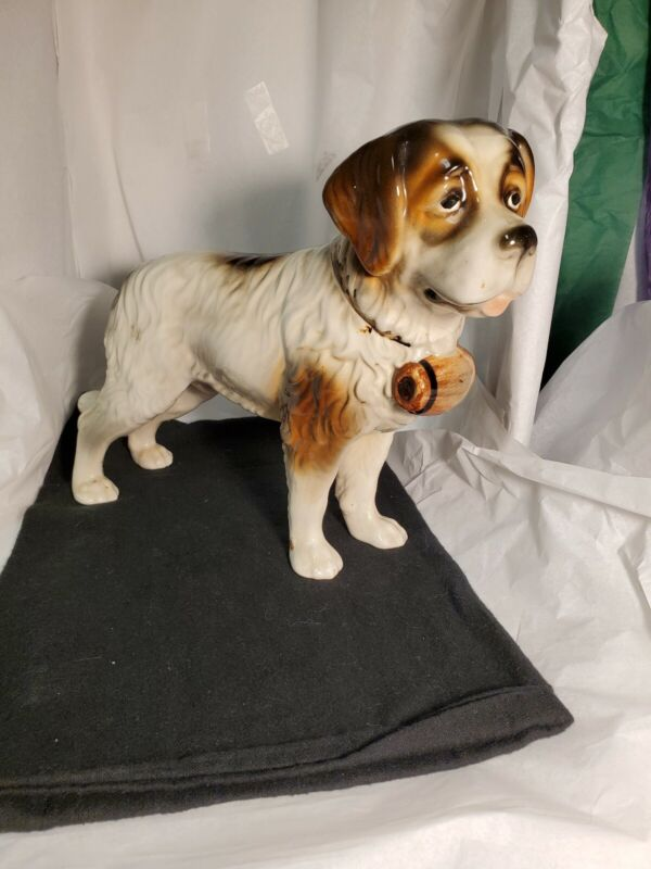 Vintage Antique Large Porcelain Saint Bernard Dog Figurine, Austria