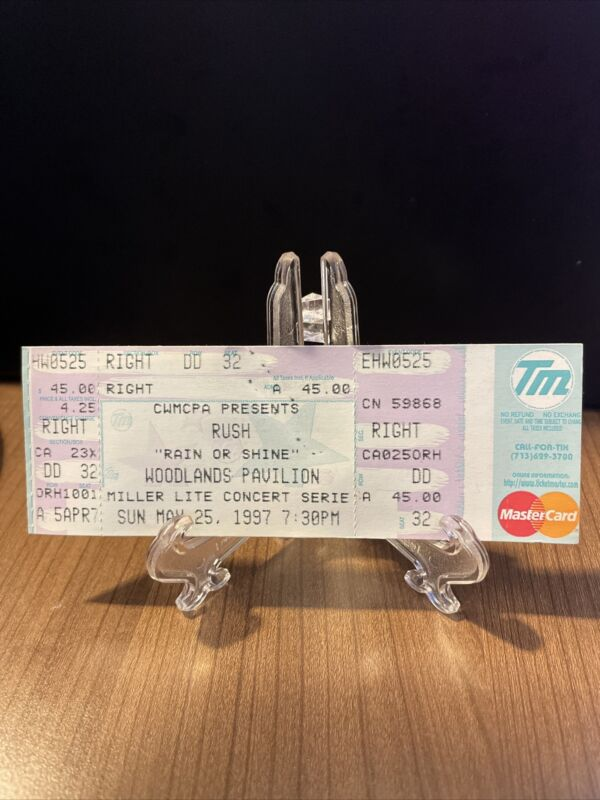Rush Concert Ticket Unused Vintage May 25 1997 Woodlands Pavilion Houston TX