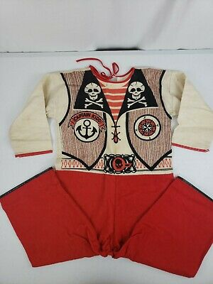 VTG Collegeville Pajama Costume CAPT. KIDD Pirate No Mask 6-8Y Washable Flannel