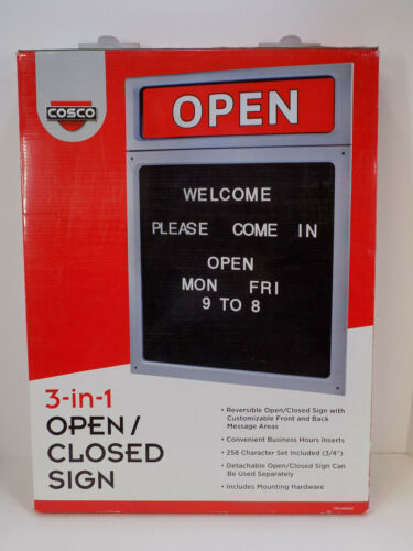 LARGE OPEN CLOSED SIGN Cosco Message Business Hours Sign 15 x 20 1/2 Black/Red